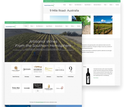 Website for Austral Estates Wines porfolio