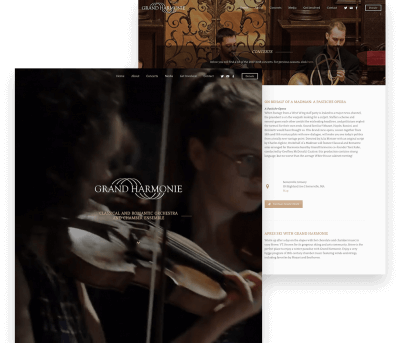 Website for Grand Harmonie porfolio