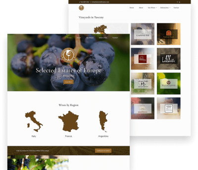 Website for wine seller Selected Estates porfolio