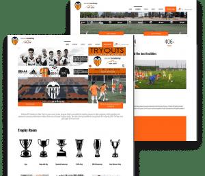 Website for Valencia C.F. Academy porfolio