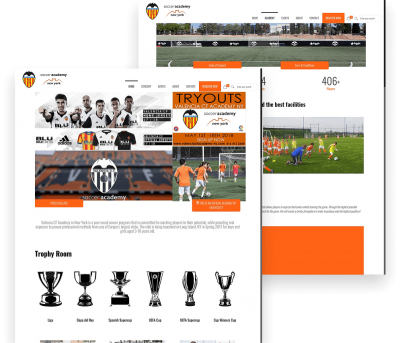 Website for Valencia C.F. Academy porfolio